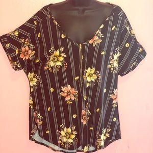 Tops - Floral Zipper Shirt